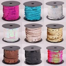 1Roll Cord For Clothes Accessories Plastic Sequin Paillette 9 Colors 6MM For DIY