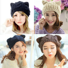 Women Girls Winter Warm Beanie Devil Horns Cat Ear Crochet Braided Knit Cap Hat