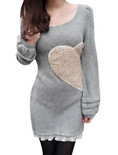 Lady Scoop Neck Long Sleeve Stretchy Heart Pattern Dress