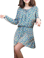 Ladies Scoop Neckline Self Tie Strap Floral Prints Casual Mini Dress