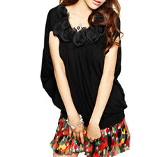 Ruffle Flower Accent Scoop Neck Shirt Blouse for Lady