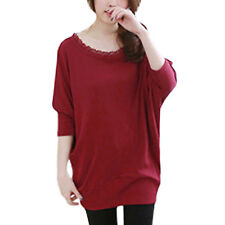 Woman Scalloped Neckline Batwing Sleeves Loose Fit Tunic Top
