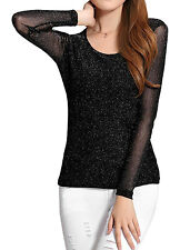 Round Neck Mesh Long Sleeves Pullover Casual Top for Women