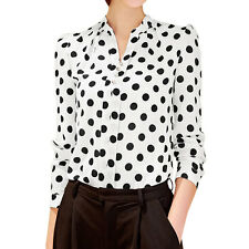 Women Long Sleeves Stand Collar Button Decor Printed Blouse