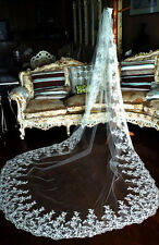 Custom 3M 1T New Lace Applique Wedding Veil White/Ivory Cathedral Length Bridal