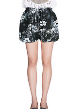 Lady Elastic Drawstring Waist Floral Prints Loose Fit Casual Shorts