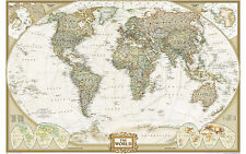 Large Framed Print - Map of the World Vintage Style (Picture Art Globe Atlas)