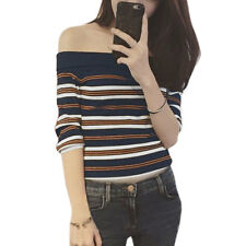 Woman Off the Shoulder Contrast Color Stripes Knitting Shirt