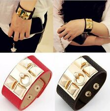 New Retro Women Punk Stud Pyramid Metal Leather Wristband Bangle Bracelet Cuff