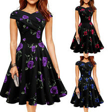 Retro Women V Neck Tiered Rose Floral Bodycon Party Cocktail Gown Formal Dress