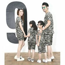 Summer Men Women Boy Girl Family Outfit Camouflage T-shirt Top+Pants Clothes Set