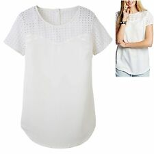 Label Be sz 12 Blouse Top w. Cotton Broderie Anglaise Ivory White Simply Be New