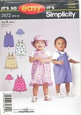 Simplicity 2672 Babies Jumper, Romper and Hat 0 to 18 months  Sewing Pattern