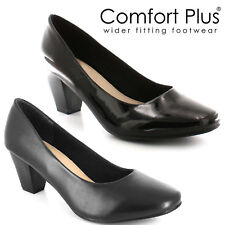 WOMENS COURT SHOES LADIES WIDE FITTING CLASSIC CASUAL FORMAL WORK LOW MID HEELS