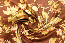 """Brown Gold Green Red Floral Embossed Clothing Drapery Fabric By The Yard 54""""W"""