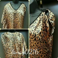 Women's Animal Print Black Orange One Shoulder Shirt M EUC