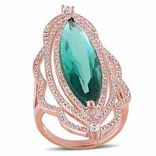 Rose Pink Sterling Silver Green and White Cubic Zirconia Ring