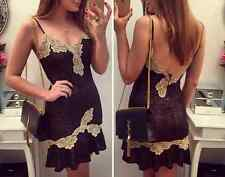 Womens Lace Backless Sexy Halter V-neck Bodycon Party Evening Club Mini Dress