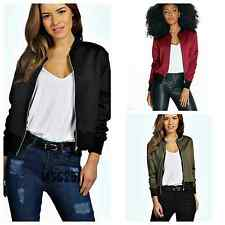 Ladies New Style Bomber Jacket Women Vintage Zip Up Biker Coat Size 8 10 12 14