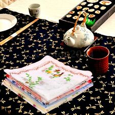 1/5/10Pcs Flowers Bird Handkerchiefs Cotton Quadrate Hankies Ladies Floral Hanky