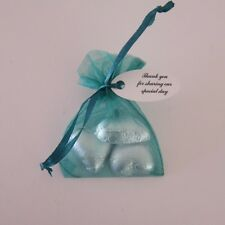 3 Chocolates, Green Organza bag & Printed Tag Wedding/ Christening Bomboniere