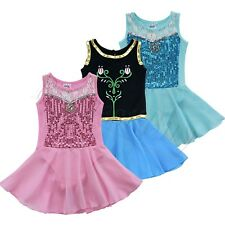 Girls Ballet Leotard Dance Dress Sequin Chiffon Gymnastic Skating Kids Clothes