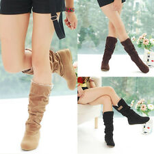 Winter Women Girl's Flat Heels Boots Lace Cuff Slouchy Mid-Calf Faux Suede Shoes