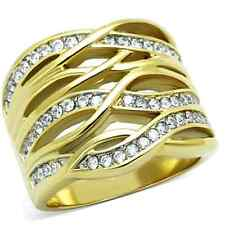 Stainless Steel Yellow Gold Plated CZ Cocktail Fashion Ring Band Size 5-10