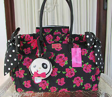 Betsey Johnson Double Bow Floral Dot 3 Pc Diaper Bag Weekender Travel Pink NWT