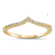 Sterling Silver .925 Yellow Gold Plated V Shape Stackable Fashion Ring Size 4-10