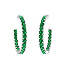 2.00 ct Natural Green Emerald Hoop Earrings Solid Gold Jewelry For Women