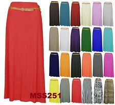 NEW WOMENS LADIES LONG JERSEY BELTED MAXI GYPSY SKIRT DRESS PLUS SIZES 8-14