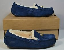 NWT UGG AUSTRALIA ANSLEY CHUNKY CRYSTALS NAVY WOOL MOCCASIN SLIPPERS SHOES 6 7