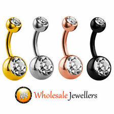 New Steel Silver Rose Gold Black Double Gem Belly Button Navel Bar Ring Piercing