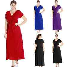 Women's Short Sleeve V Neck Tiered Casual OL Evening Party Plus Size Long Dress