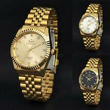 Mens 18K Gold Plated Stainless Steel Watch Analog Quartz Movement Wrist Watch