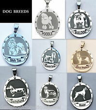 Dog Breed Stainless Steel Necklace Silver Paw Print Oval Pendant