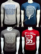 Hugo Boss 100% Cotton Short Sleeve Crew Neck Graphic Printed T-Shirt S-M-L-XL