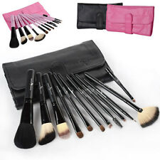 12 Pcs Professional Goat Hair Beauty Cosmetic Makeup Brush Set in Case