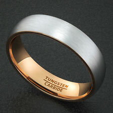 Mens Wedding Band Tungsten Ring Two Tone 6mm White with Rose Gold Comfort Fit