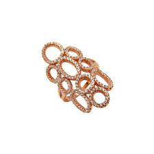 Rose Gold Plated Sterling Silver Clear Cz Split Band Ring (9SMO93R0263)