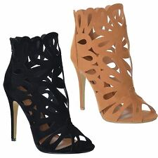 WOMENS LADIES HIGH STILETTO HEEL PEEP TOE CUT OUT ZIP UP ANKLE BOOTS SHOES SIZE