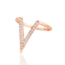 18K White Gold / Rose Gold Plated  Cubic Zirconia Pave V Fashion Ring