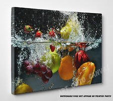 X Large Fruit And Vegetables Splash Into Water Canvas Print Wall Art A1 A2 A3