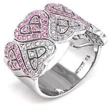 Sterling Silver Micro Pave Clear and Pink Cz Hearts Band Ring (99SMO93R0140)