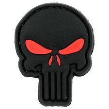 PVC 3D Velcro Morale Patch Punisher Skull Red Black Airsoft Military Tactical
