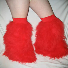 Over Knee Rave Fluffies and Wrist Cuffs Set Fluffy Legwarmers Boot Covers Neon