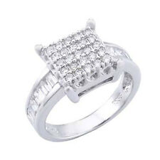 Sterling Silver Baguette and Round Cz Square Ring (9SMO93R0007)
