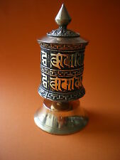 BUDDHIST PEDESTAL PRAYER WHEEL with PROTECTION MANTRA - also on scroll inside