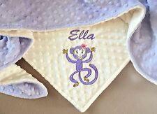 PERSONALIZED BABY/TODDLER BLANKET Monkey. Baby Shower gift Baby girl. Minky dot